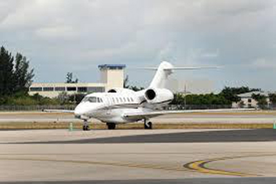 Private jet on runway